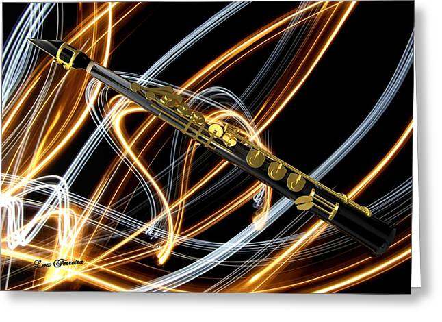 Art On Line Greeting Cards - Jazz Soprano Sax Greeting Card by Louis Ferreira