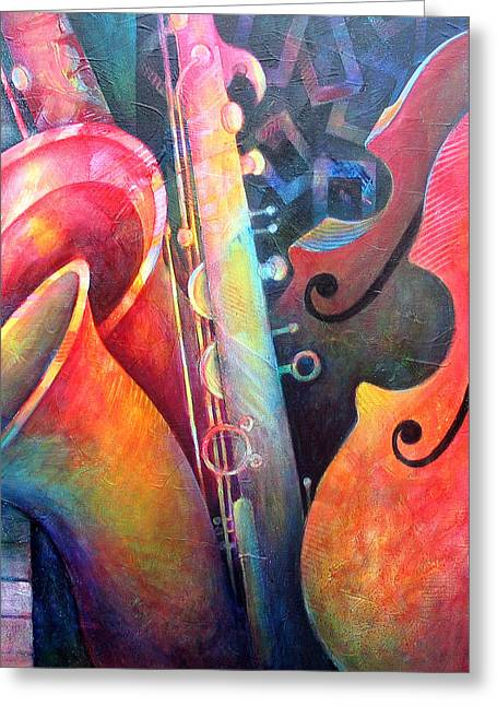 Double Bass Greeting Cards - Jazz  Greeting Card by Susanne Clark