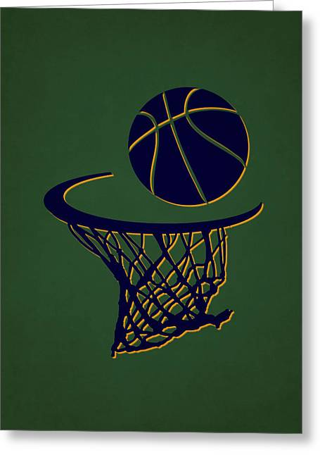 Basket Ball Greeting Cards - Jazz Team Hoop2 Greeting Card by Joe Hamilton