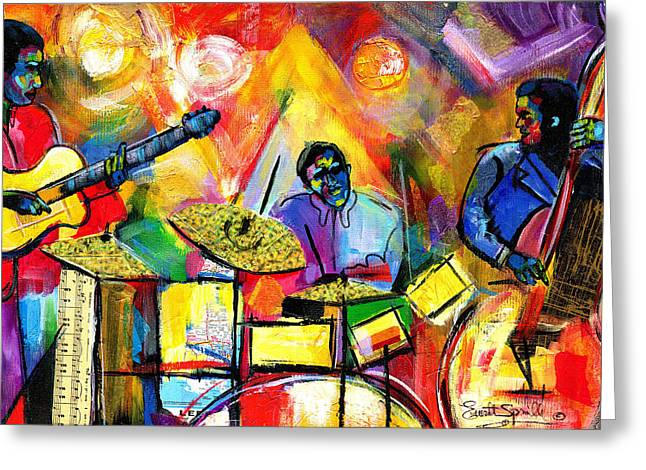 Romare Bearden Mixed Media Greeting Cards - Jazz Trio 2011 Greeting Card by Everett Spruill