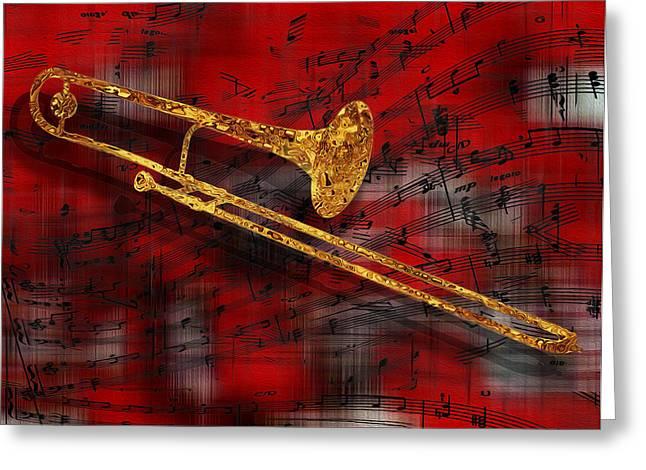 Tuba Greeting Cards - Jazz Trombone Greeting Card by Jack Zulli