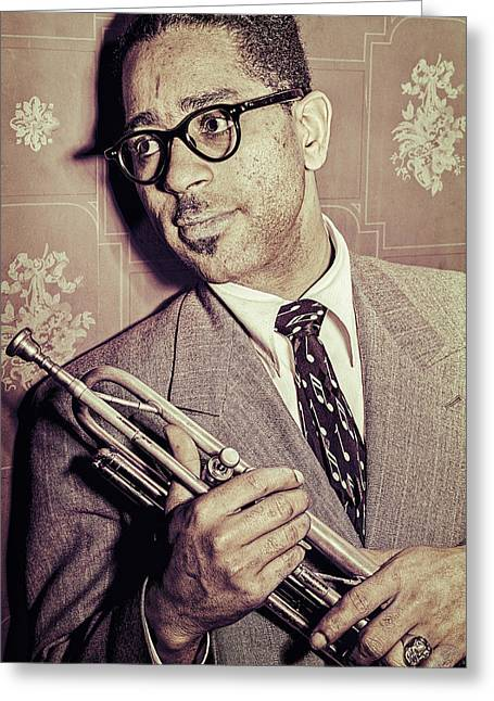 Recently Sold -  - ist Photographs Greeting Cards - Jazz Trumpet Player Dizzy Gillespie Greeting Card by Carlos Lazurtegui