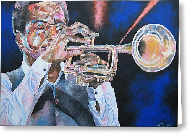 Jazz Trumpet Player Greeting Card by Mike Rabe