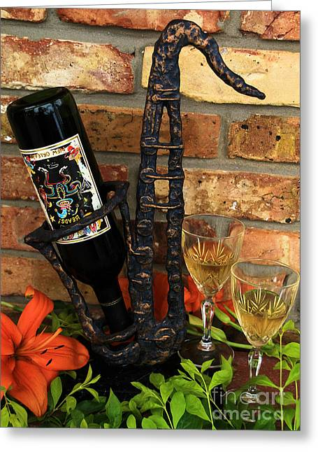 Wine Holder Photographs Greeting Cards - Jazzing up the Big Easy Greeting Card by Karry Degruise
