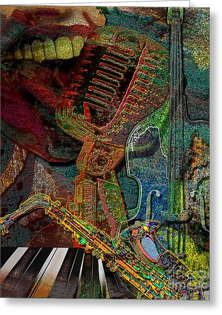 Jazzing Up The Place Greeting Card by Reggie Duffie