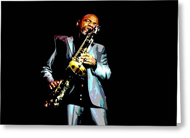 Player Greeting Cards - Jazzman Greeting Card by Deena Stoddard