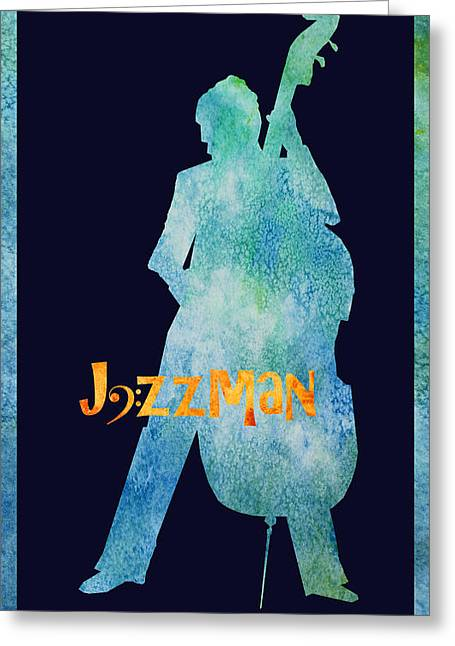 Double Bass Greeting Cards - Jazzman Greeting Card by Jenny Armitage