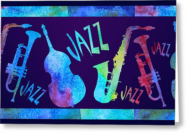 Double Bass Greeting Cards - Jazzy Combo Greeting Card by Jenny Armitage
