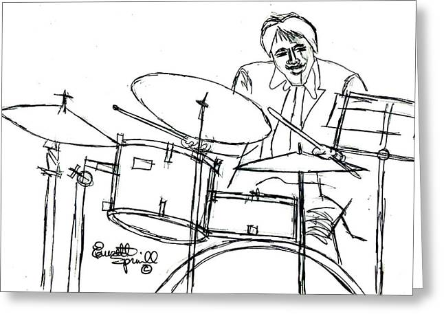 Famous African Americans Drawings Greeting Cards - Jazzy Drummer - Drawing Greeting Card by Everett Spruill