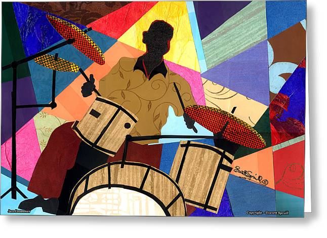 Lino Mixed Media Greeting Cards - Jazzy Drummer Greeting Card by Everett Spruill