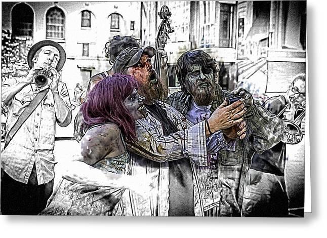 Ghastly Greeting Cards - Jazzy Zombie Selfie Greeting Card by John Haldane