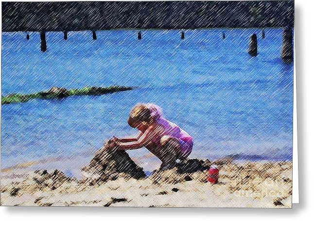 Sand Castles Mixed Media Greeting Cards - Jazzys Sand Castle Greeting Card by Jamie Harcourt
