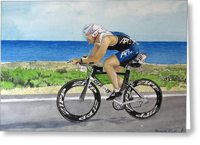 Ironman Paintings Greeting Cards - J.C Cycling in Ironman Cancun Greeting Card by Tanya Petruk