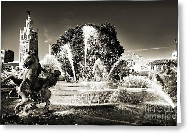 Design And Photography. Greeting Cards - JC Nichols Memorial Fountain BW 1 Greeting Card by Andee Design