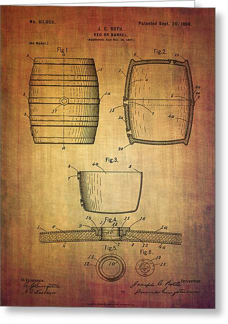 Booze Mixed Media Greeting Cards - J.C.Roth beer keg patent from 1898 Greeting Card by Eti Reid