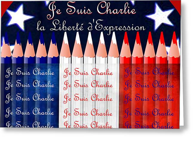 Speeches Mixed Media Greeting Cards - Je Suis Charlie Freedom Of Speech Greeting Card by Michele  Avanti