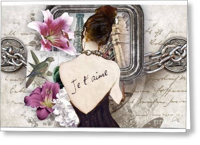 Cards Vintage Mixed Media Greeting Cards - Je Taime Greeting Card by Mo T