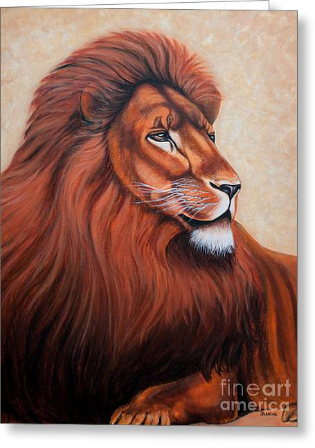 Lions Tapestries - Textiles Greeting Cards - Jealous Greeting Card by Blanch Paulin