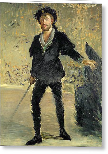 Recently Sold -  - Man Dressed In Black Greeting Cards - Jean Baptiste Faure in the Opera Hamlet by Ambroise Thomas Greeting Card by Edouard Manet