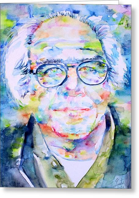 Sociologists Greeting Cards - JEAN BAUDRILLARD - watercolor portrait Greeting Card by Fabrizio Cassetta