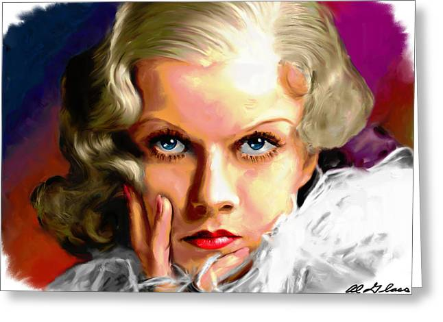 Star Greeting Cards - Jean Harlow Greeting Card by Allen Glass