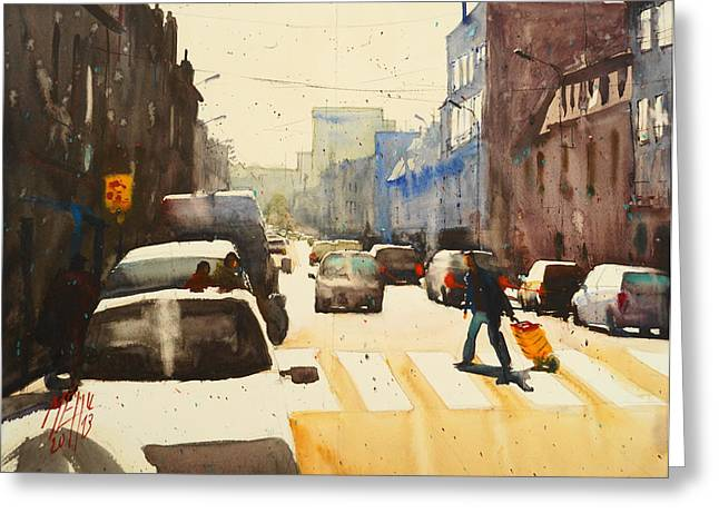 Lorient Greeting Cards - Jean Jaures Street Greeting Card by Andre MEHU