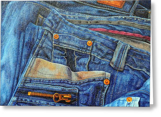 Levis Greeting Cards - Jean Junkie Greeting Card by Luna
