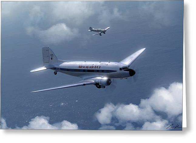 Dc-3 Greeting Cards - Jean Kate and Amy Greeting Card by Hangar B Productions