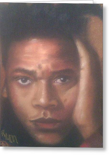 Celebrity Portraits Pastels Greeting Cards - Jean-Michel Basquiat  Greeting Card by Ronnie Melvin