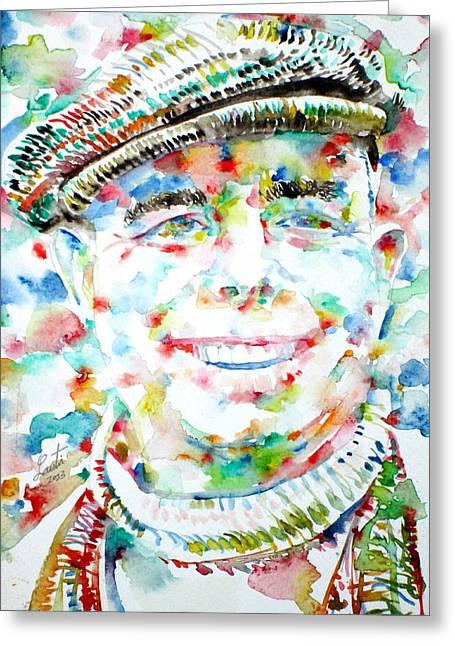 Renoir Greeting Cards - JEAN RENOIR watercolor portrait Greeting Card by Fabrizio Cassetta