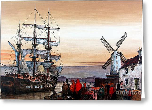 Johnston Greeting Cards - Jeanie Johnston Famine Ship Greeting Card by Val Byrne