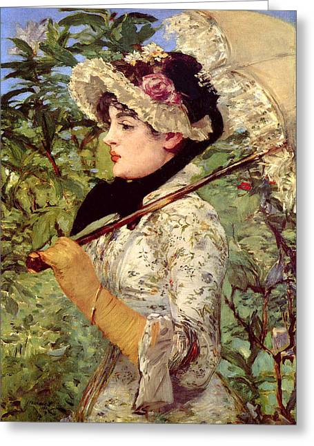 Old Masters Greeting Cards - Jeanne Greeting Card by Edouard Manet
