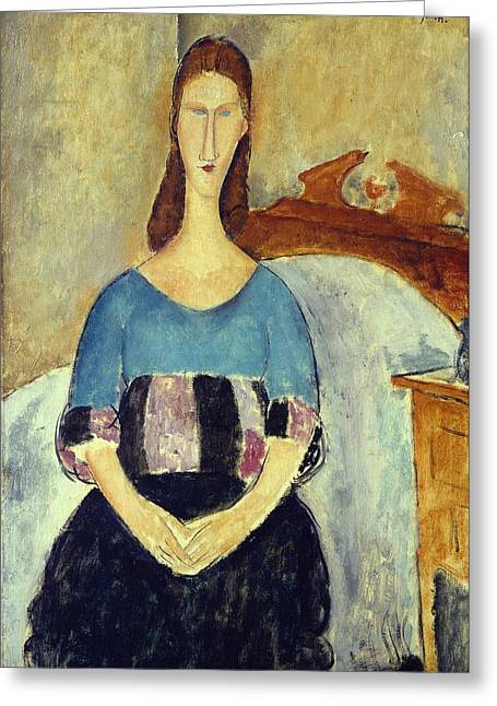 Primitive Greeting Cards - Jeanne Hebuterne, 1918 Greeting Card by Amedeo Modigliani