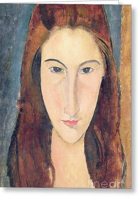 Abstractions Greeting Cards - Jeanne Hebuterne Greeting Card by Amedeo Modigliani