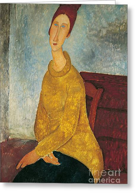 Hebuterne Greeting Cards - Jeanne Hebuterne in Yellow Sweater Greeting Card by Amedeo Modigliani