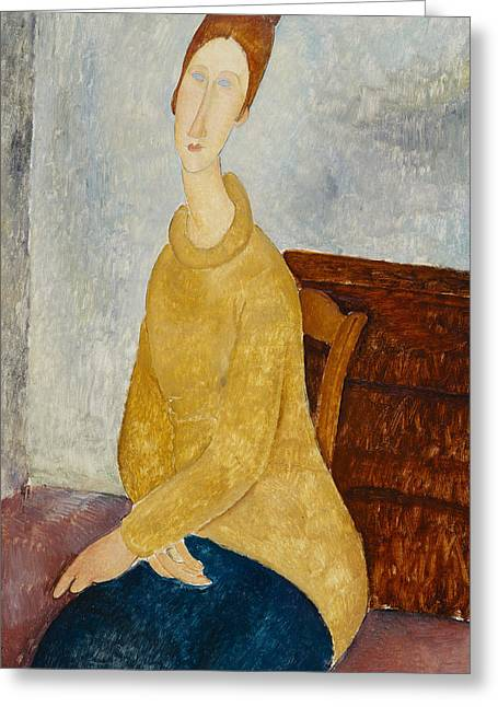 Hebuterne Greeting Cards - Jeanne Hebuterne With Yellow Sweater Greeting Card by Celestial Images