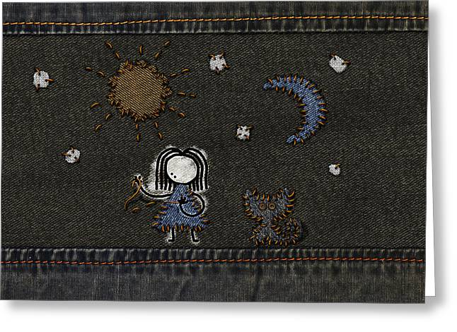 Abstract Digital Greeting Cards - Jeans Stitches Greeting Card by Gianfranco Weiss