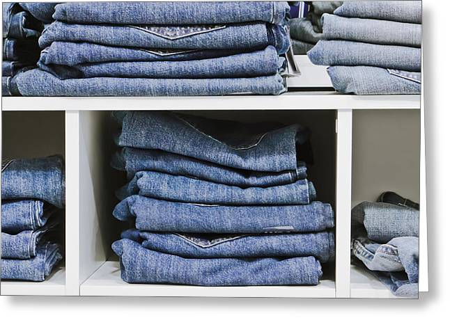 Apparel Greeting Cards - Jeans Greeting Card by Tom Gowanlock