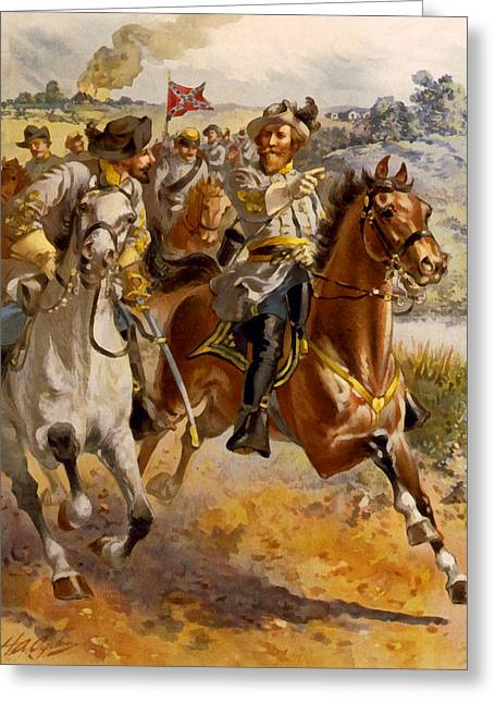 Confederate Digital Art Greeting Cards - Jeb Stuart Civil War Greeting Card by Henry Alexander Ogden