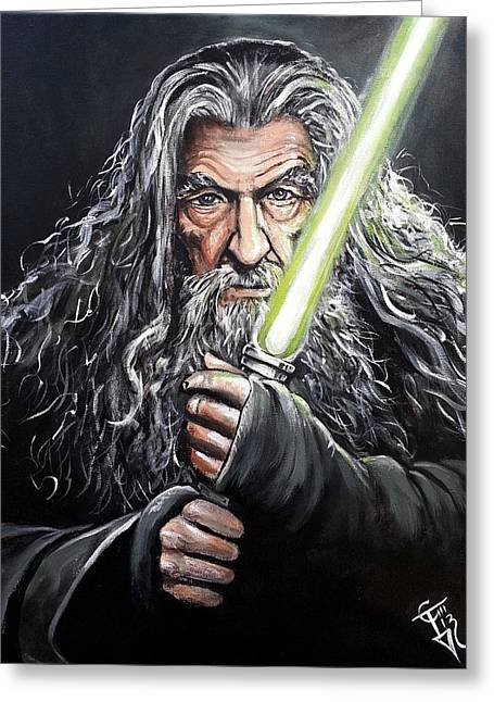 Lord Of The Rings Greeting Cards - Jedi Master Gandalf Greeting Card by Tom Carlton
