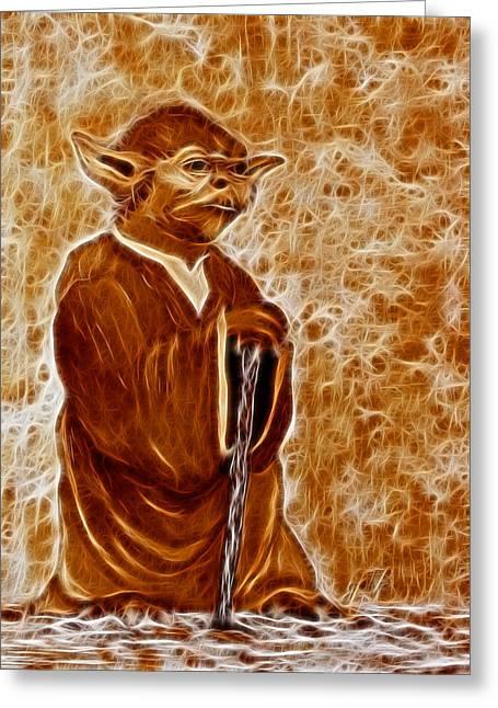 Master Yoda Greeting Cards - Jedi Master Yoda digital from original coffee painting Greeting Card by Georgeta Blanaru