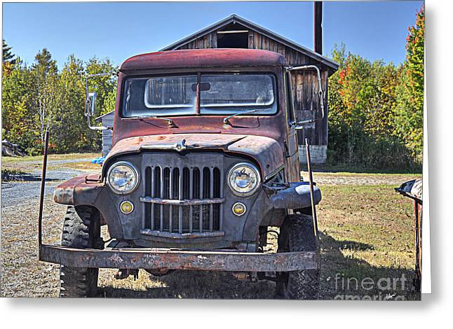 Rural Maine Roads Photographs Greeting Cards - Jeep Greeting Card by Alana Ranney