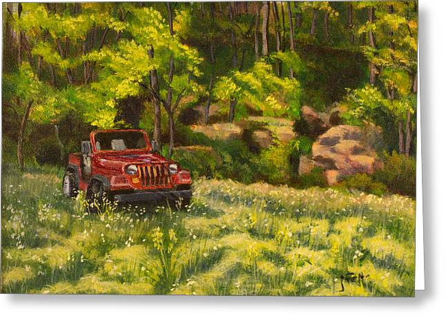 Jeep By The Bluff Greeting Card by Janet Felts