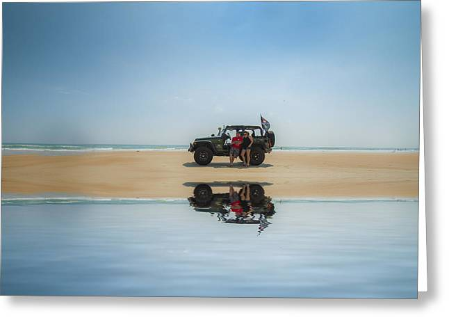 Beaches Reliefs Greeting Cards - Jeep Daytona Beach Greeting Card by Kevin Cable