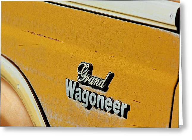 Jeeps Greeting Cards - Jeep Grand Wagoneer Side Emblem Greeting Card by Jill Reger
