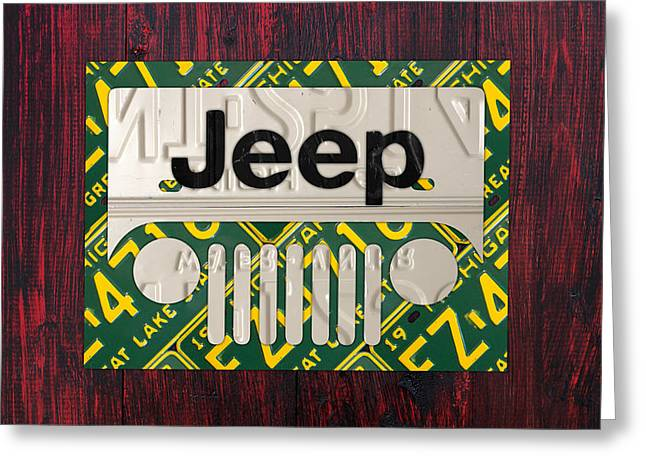 Jeeps Greeting Cards - Jeep Vintage Logo Recycled License Plate Art Greeting Card by Design Turnpike