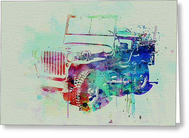 Old Car Greeting Cards - Jeep Willis Greeting Card by Naxart Studio