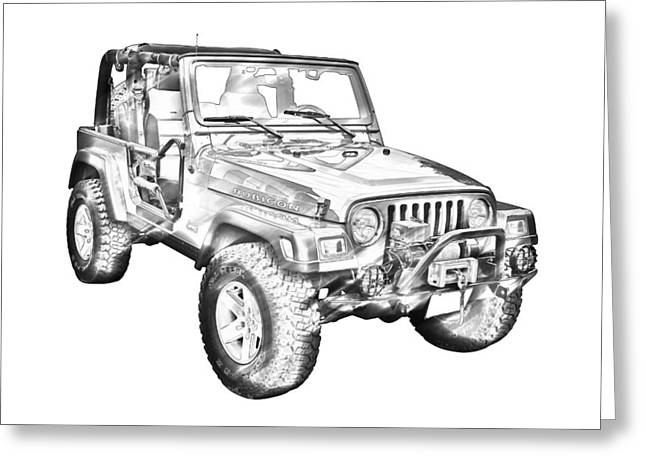 Line Drawings Greeting Cards - Jeep Wrangler Rubicon Illustration Greeting Card by Keith Webber Jr