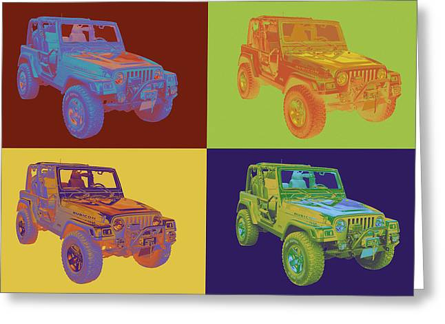 Off Road Greeting Cards - Jeep Wrangler Rubicon Pop Art Greeting Card by Keith Webber Jr