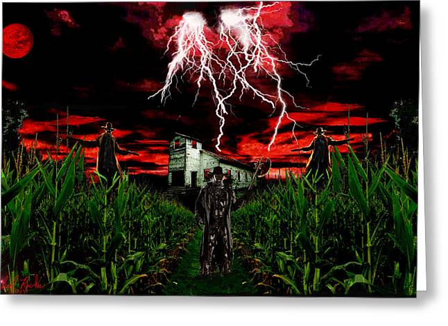 Moon With Bats Greeting Cards - Jeepers Creepers Greeting Card by Michael Rucker